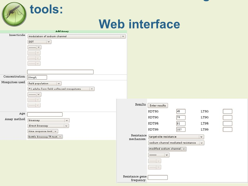 Data collection and recording tools: Web interface