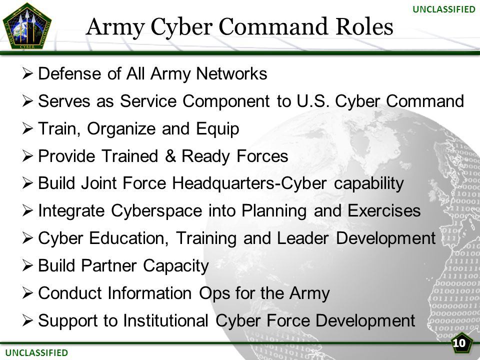  Defense of All Army Networks  Serves as Service Component to U.S. Cyber Command  Train, Organize and Equip  Provide Trained & Ready Forces  Buil