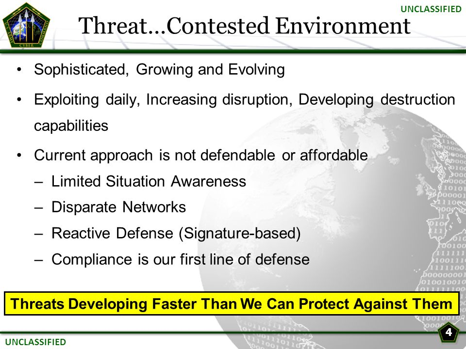 Threat…Contested Environment Sophisticated, Growing and Evolving Exploiting daily, Increasing disruption, Developing destruction capabilities Current