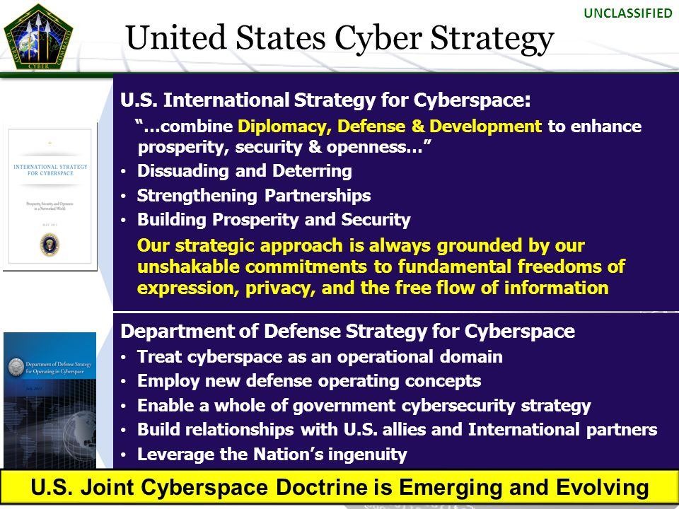 """U.S. International Strategy for Cyberspace : """"…combine Diplomacy, Defense & Development to enhance prosperity, security & openness…"""" Dissuading and De"""
