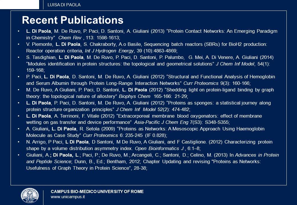CAMPUS BIO-MEDICO UNIVERSITY OF ROME www.unicampus.it Recent Publications L.