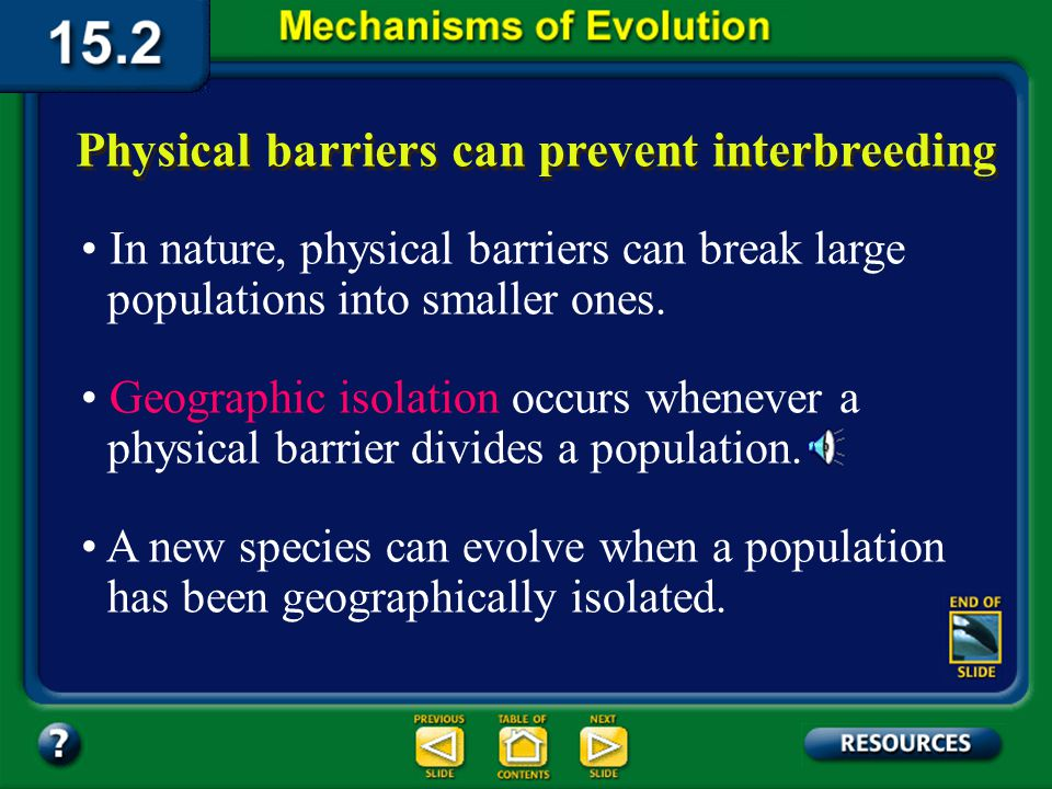 Section 15.2 Summary– pages 404-413 Physical barriers can prevent interbreeding In nature, physical barriers can break large populations into smaller ones.