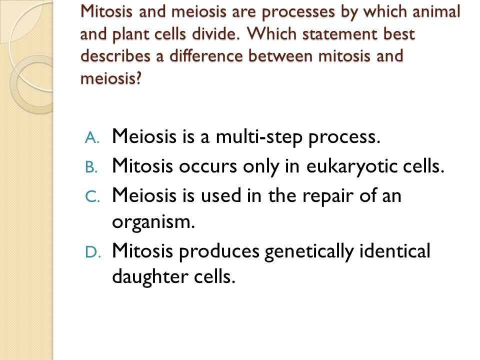 Mitosis and meiosis are processes by which animal and plant cells divide. Which statement best describes a difference between mitosis and meiosis? A.
