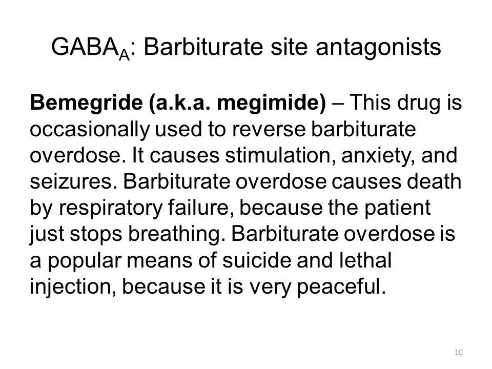 GABA A : Barbiturate site antagonists Bemegride (a.k.a.