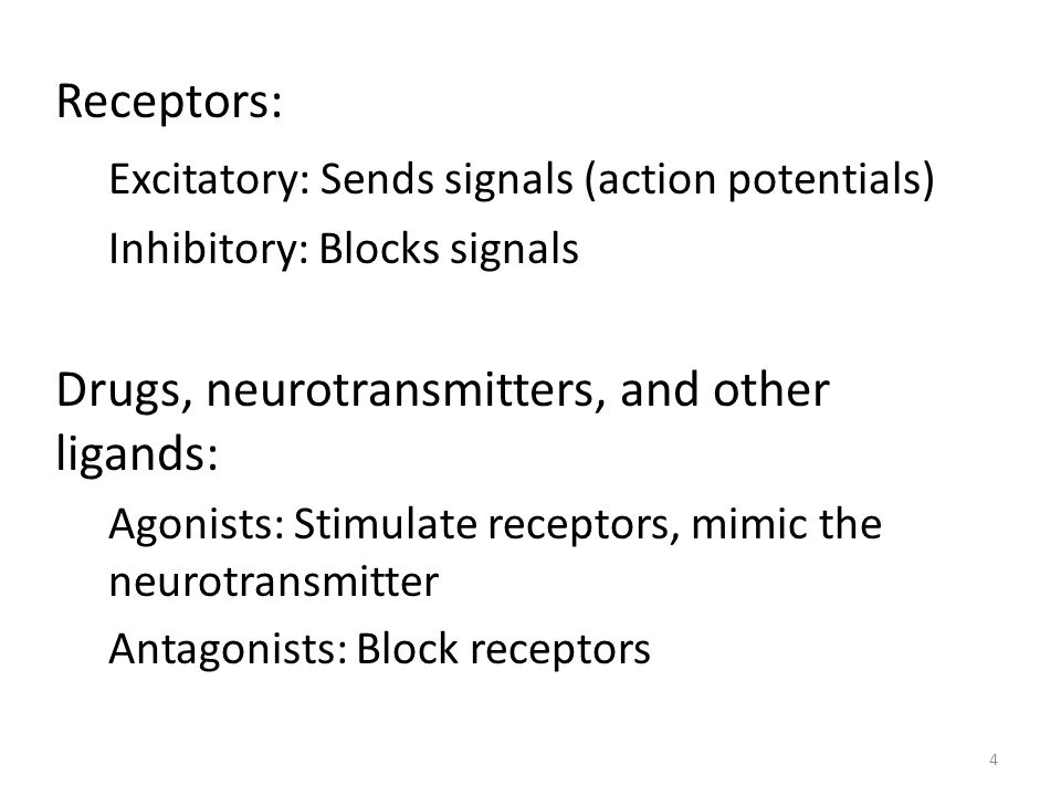 Receptors: Excitatory: Sends signals (action potentials) Inhibitory: Blocks signals Drugs, neurotransmitters, and other ligands: Agonists: Stimulate receptors, mimic the neurotransmitter Antagonists: Block receptors 4
