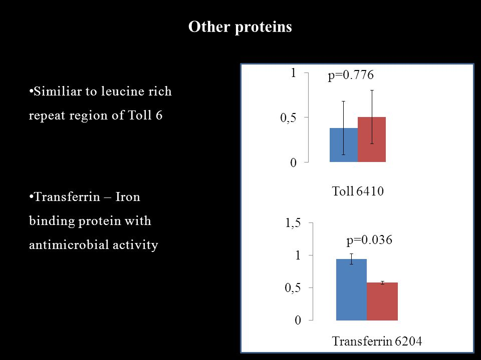 Other proteins Similiar to leucine rich repeat region of Toll 6 Transferrin – Iron binding protein with antimicrobial activity Toll 6410 p=0.776 p=0.036 Transferrin 6204