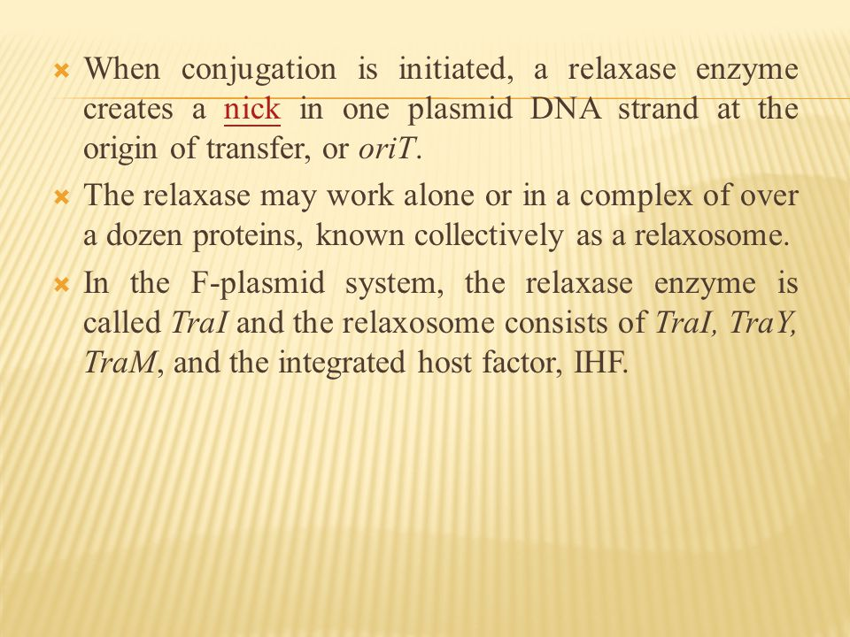  When conjugation is initiated, a relaxase enzyme creates a nick in one plasmid DNA strand at the origin of transfer, or oriT.nick  The relaxase may work alone or in a complex of over a dozen proteins, known collectively as a relaxosome.