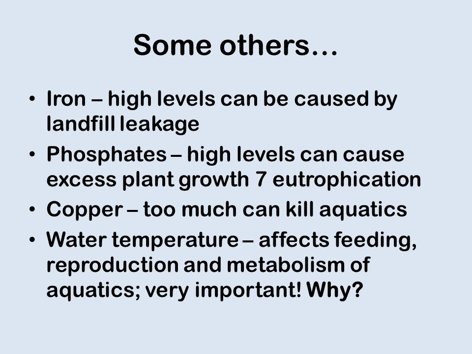 Some others… Iron – high levels can be caused by landfill leakage Phosphates – high levels can cause excess plant growth 7 eutrophication Copper – too much can kill aquatics Water temperature – affects feeding, reproduction and metabolism of aquatics; very important.
