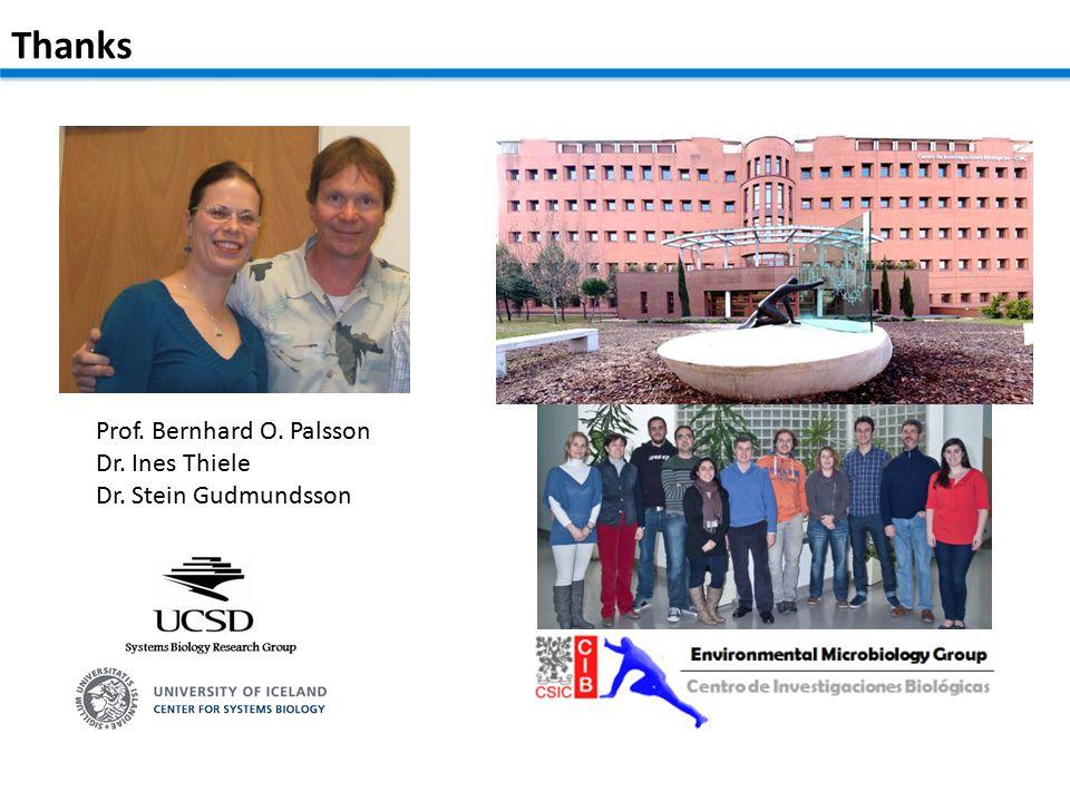 Prof. Bernhard O. Palsson Dr. Ines Thiele Dr. Stein Gudmundsson Thanks