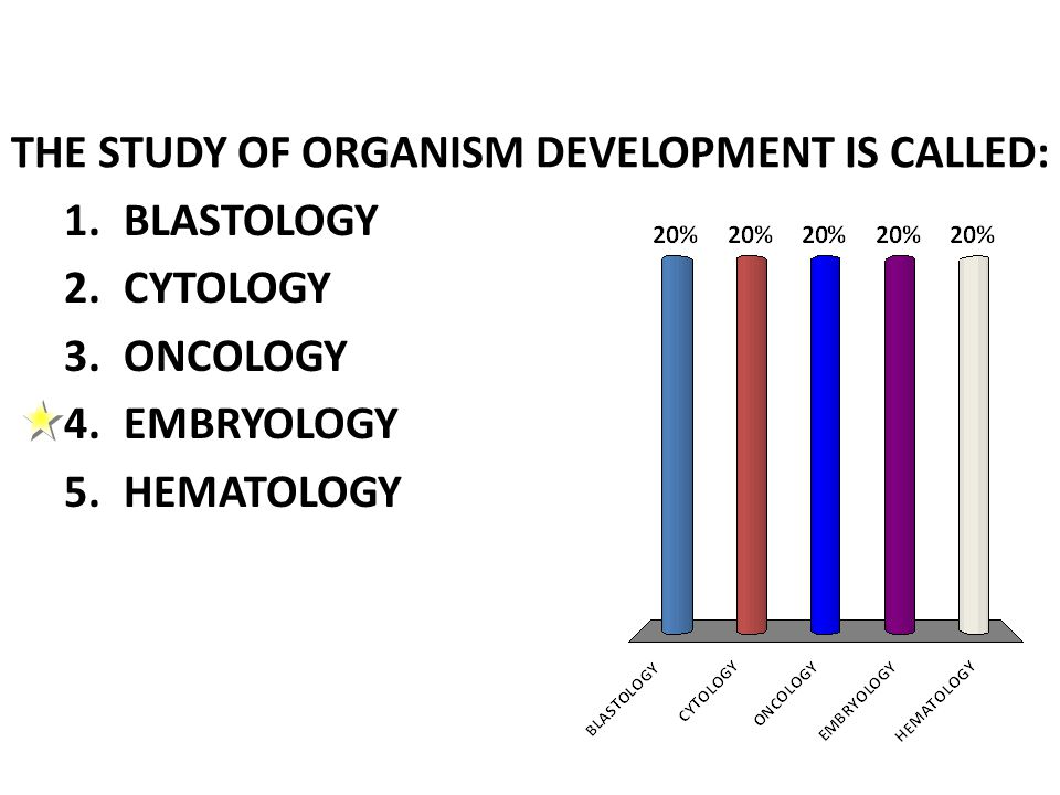 THE STUDY OF ORGANISM DEVELOPMENT IS CALLED: 1.BLASTOLOGY 2.CYTOLOGY 3.ONCOLOGY 4.EMBRYOLOGY 5.HEMATOLOGY