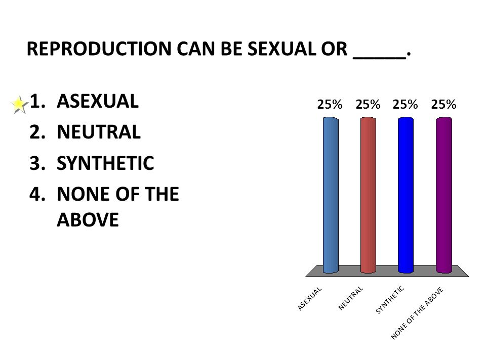 REPRODUCTION CAN BE SEXUAL OR _____. 1.ASEXUAL 2.NEUTRAL 3.SYNTHETIC 4.NONE OF THE ABOVE