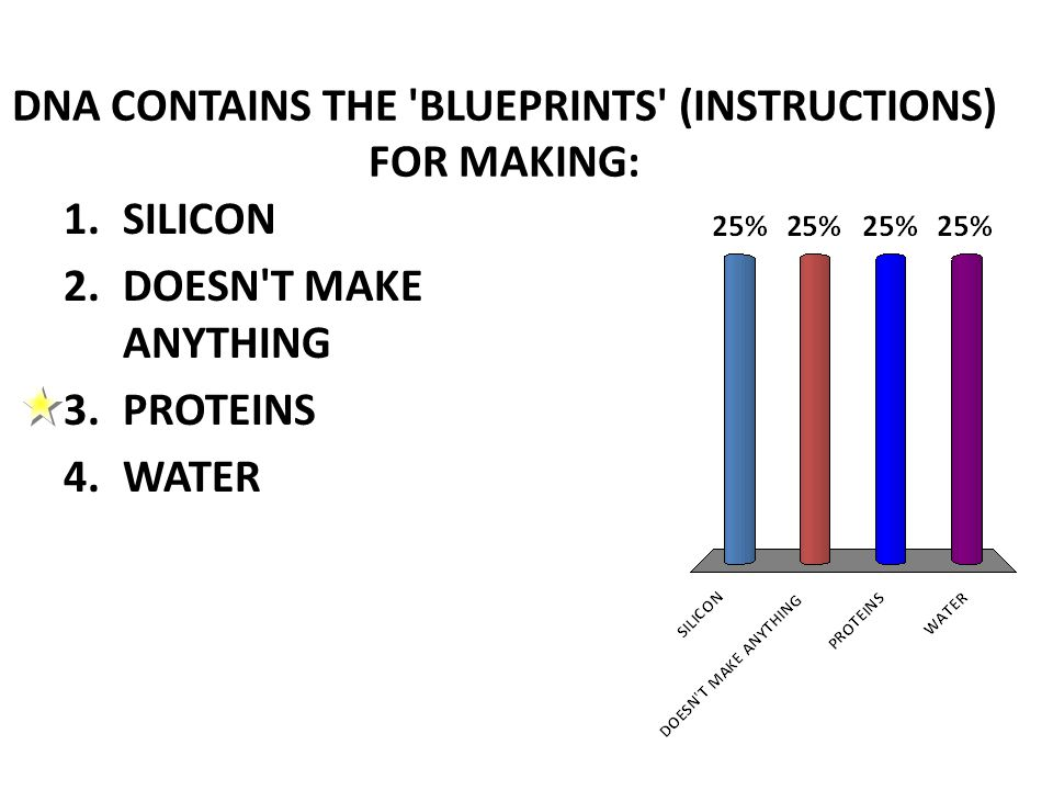 DNA CONTAINS THE BLUEPRINTS (INSTRUCTIONS) FOR MAKING: 1.SILICON 2.DOESN T MAKE ANYTHING 3.PROTEINS 4.WATER