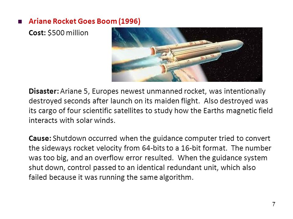 7 Ariane Rocket Goes Boom (1996) Cost: $500 million Disaster: Ariane 5, Europes newest unmanned rocket, was intentionally destroyed seconds after laun