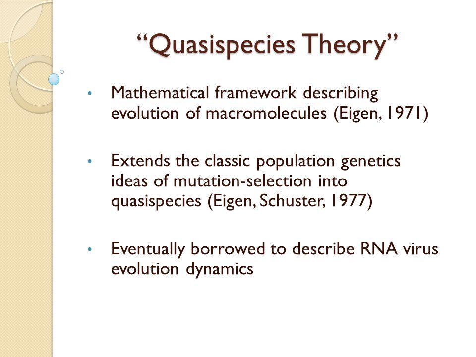 Quasispecies Theory Mathematical framework describing evolution of macromolecules (Eigen, 1971) Extends the classic population genetics ideas of mutation-selection into quasispecies (Eigen, Schuster, 1977) Eventually borrowed to describe RNA virus evolution dynamics