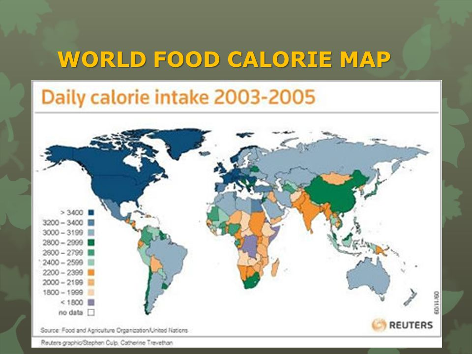 WORLD FOOD CALORIE MAP