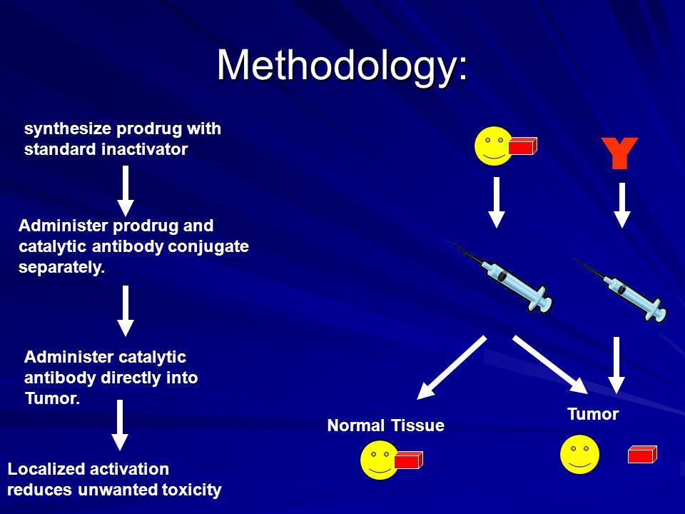 Methodology: synthesize prodrug with standard inactivator Administer prodrug and catalytic antibody conjugate separately.
