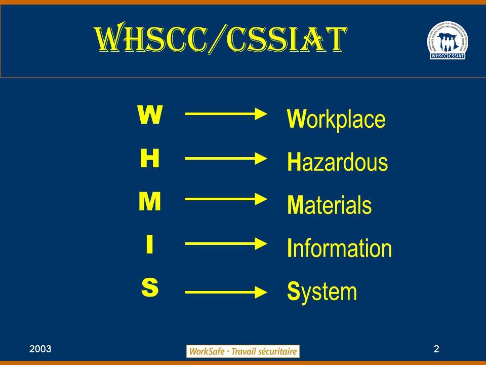 2003 2 WHSCC/Cssiat W H M I S W orkplace H azardous M aterials I nformation S ystem