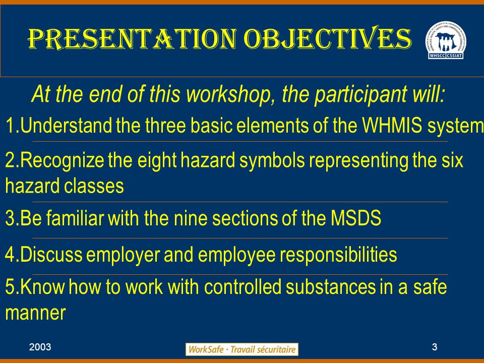 2003 3 At the end of this workshop, the participant will: 1.Understand the three basic elements of the WHMIS system 2.Recognize the eight hazard symbols representing the six hazard classes 3.Be familiar with the nine sections of the MSDS 4.Discuss employer and employee responsibilities 5.Know how to work with controlled substances in a safe manner Presentation Objectives