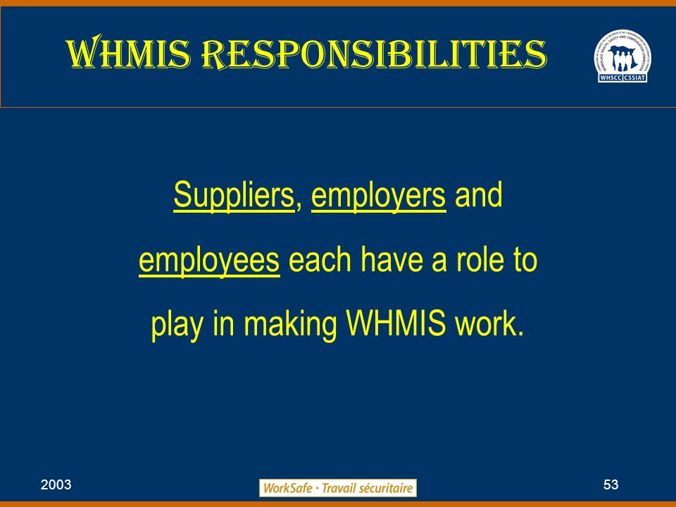 2003 53 WHMIS Responsibilities Suppliers, employers and employees each have a role to play in making WHMIS work.