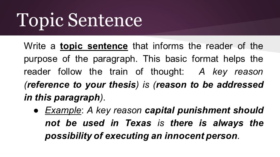 Topic Sentence Write a topic sentence that informs the reader of the purpose of the paragraph.