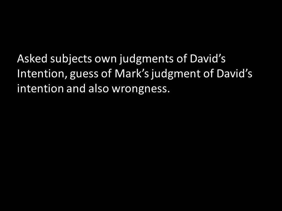 Asked subjects own judgments of David's Intention, guess of Mark's judgment of David's intention and also wrongness.