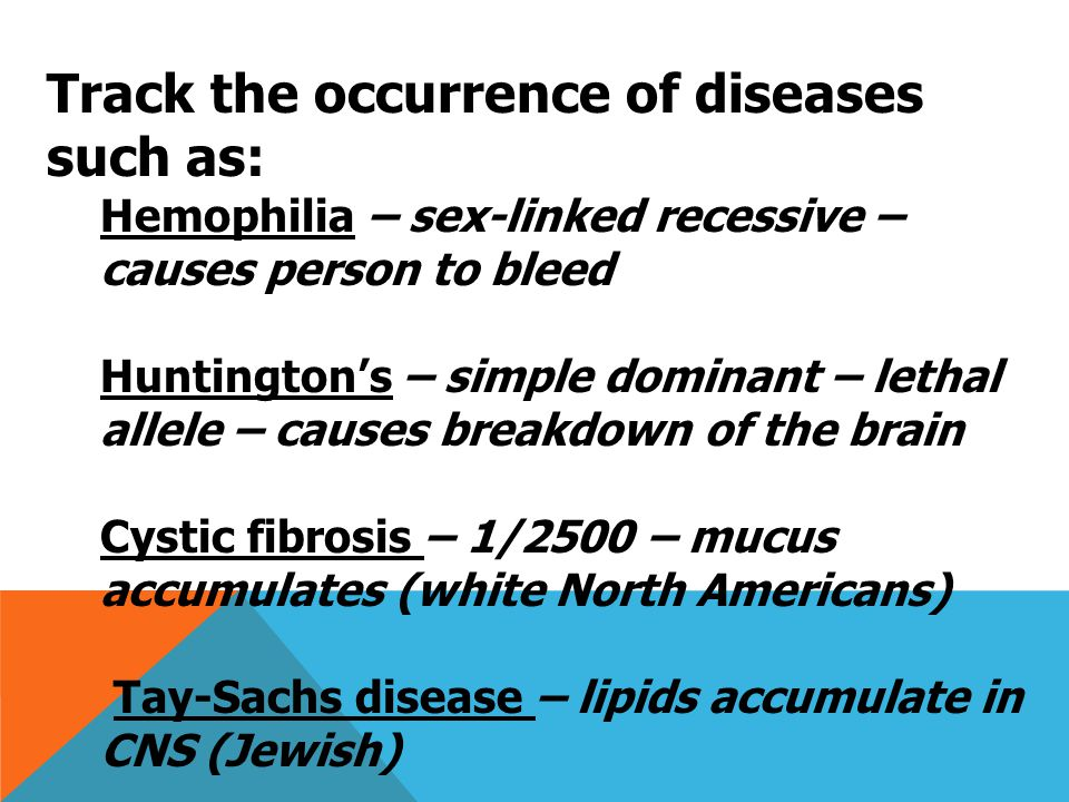 Track the occurrence of diseases such as: Hemophilia – sex-linked recessive – causes person to bleed Huntington's – simple dominant – lethal allele – causes breakdown of the brain Cystic fibrosis – 1/2500 – mucus accumulates (white North Americans) Tay-Sachs disease – lipids accumulate in CNS (Jewish)