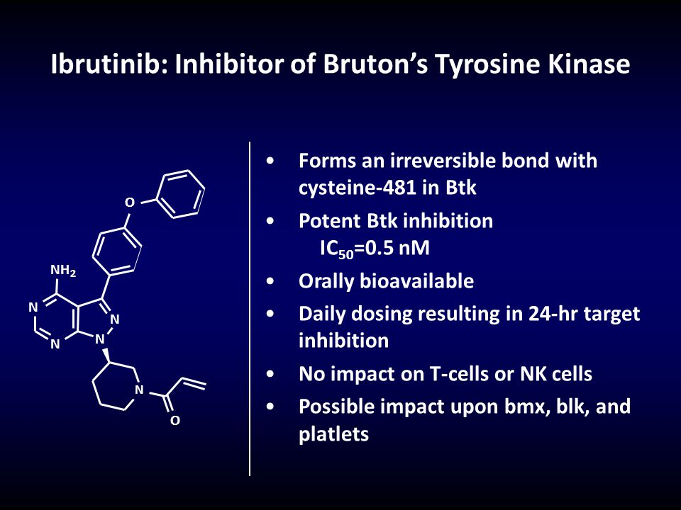 Ibrutinib: Inhibitor of Bruton's Tyrosine Kinase Forms an irreversible bond with cysteine-481 in Btk Potent Btk inhibition IC 50 =0.5 nM Orally bioava