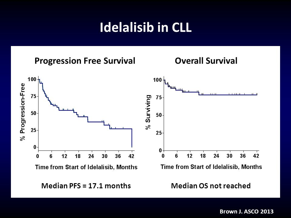 Idelalisib in CLL Brown J. ASCO 2013 Median PFS = 17.1 monthsMedian OS not reached Progression Free SurvivalOverall Survival