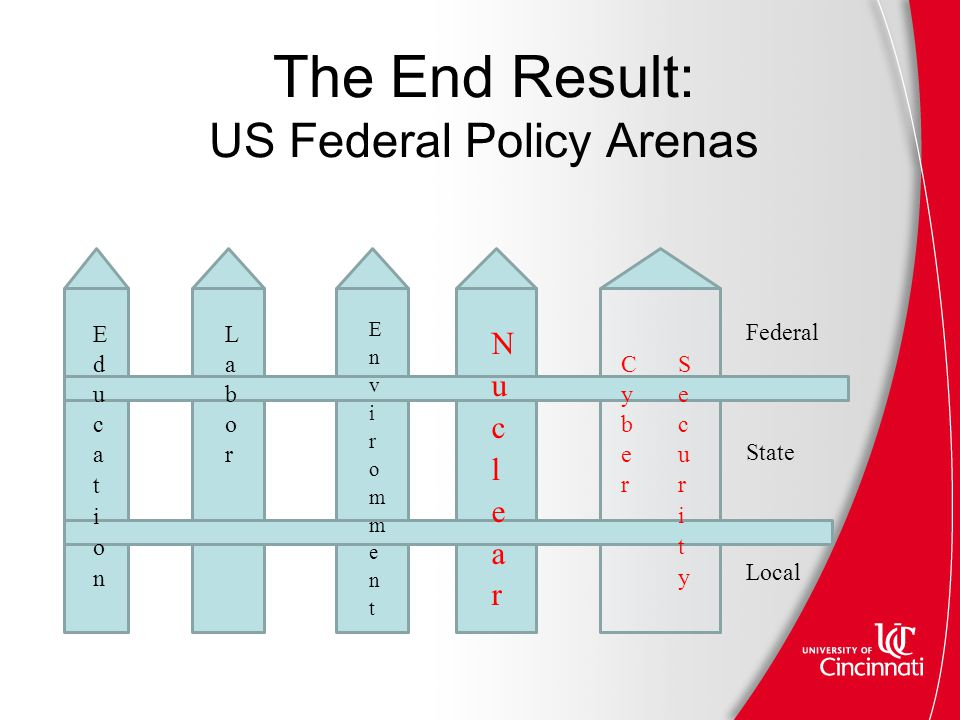 The End Result: US Federal Policy Arenas Federal State Local