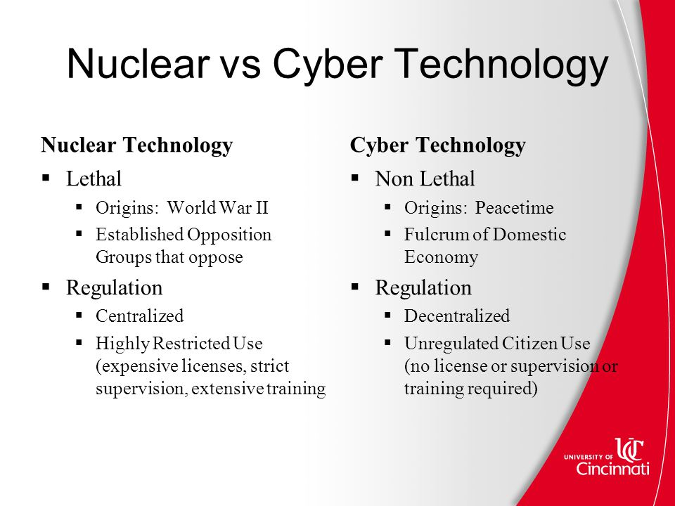 Nuclear vs Cyber Technology Nuclear Technology  Lethal  Origins: World War II  Established Opposition Groups that oppose  Regulation  Centralized  Highly Restricted Use (expensive licenses, strict supervision, extensive training Cyber Technology  Non Lethal  Origins: Peacetime  Fulcrum of Domestic Economy  Regulation  Decentralized  Unregulated Citizen Use (no license or supervision or training required)