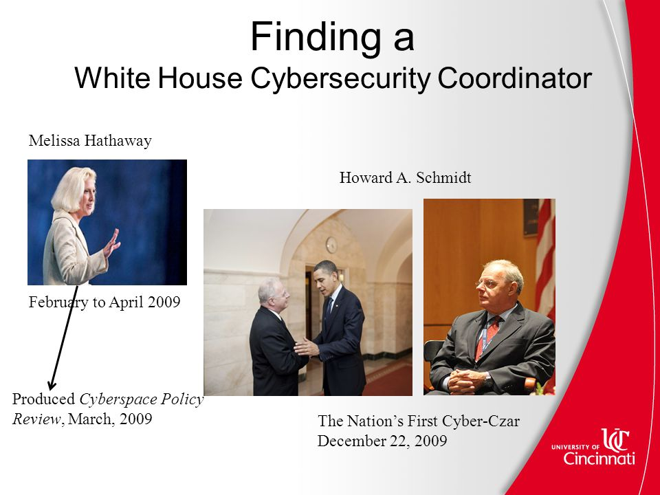 Finding a White House Cybersecurity Coordinator The Nation's First Cyber-Czar December 22, 2009 February to April 2009 Produced Cyberspace Policy Review, March, 2009 Melissa Hathaway Howard A.