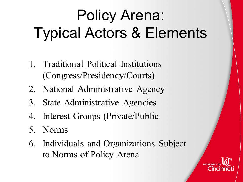 Policy Arena: Typical Actors & Elements 1.Traditional Political Institutions (Congress/Presidency/Courts) 2.National Administrative Agency 3.State Administrative Agencies 4.Interest Groups (Private/Public 5.Norms 6.Individuals and Organizations Subject to Norms of Policy Arena