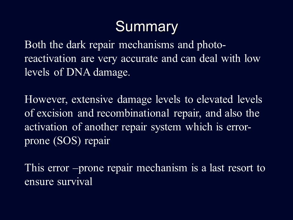 Summary Both the dark repair mechanisms and photo- reactivation are very accurate and can deal with low levels of DNA damage. However, extensive damag