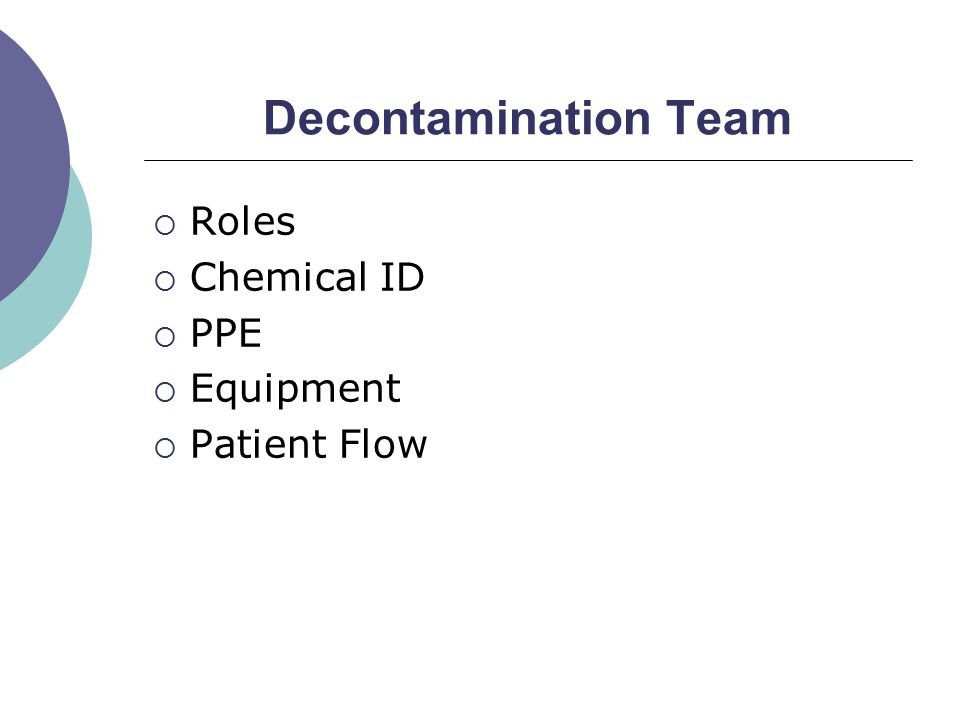  Roles  Chemical ID  PPE  Equipment  Patient Flow
