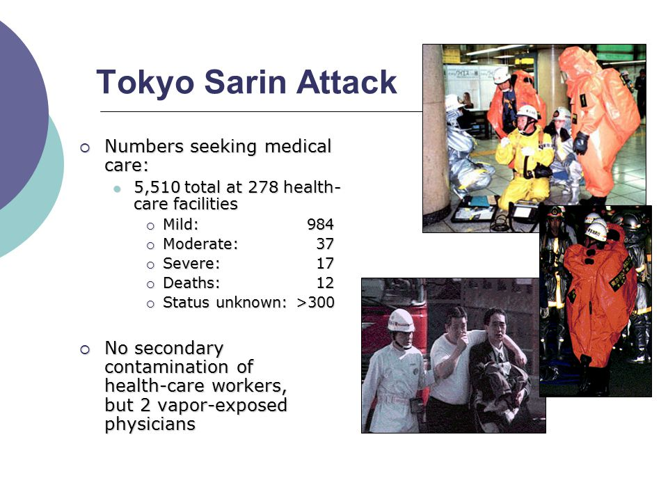 Tokyo Sarin Attack  Numbers seeking medical care: 5,510 total at 278 health- care facilities 5,510 total at 278 health- care facilities  Mild: 984  Moderate: 37  Severe: 17  Deaths: 12  Status unknown: >300  No secondary contamination of health-care workers, but 2 vapor-exposed physicians