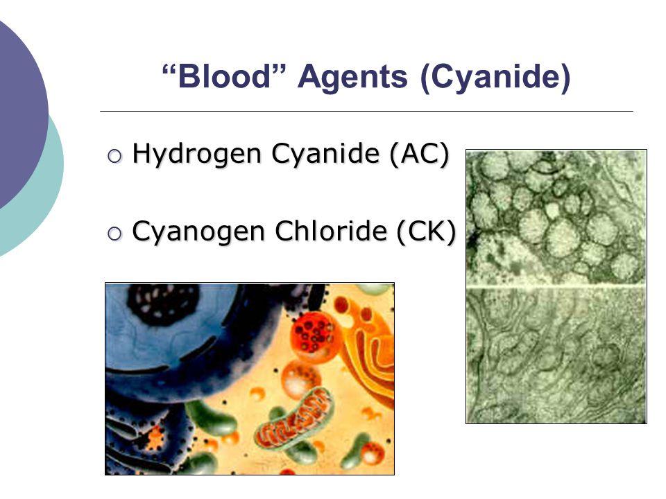 Blood Agents (Cyanide)  Hydrogen Cyanide (AC)  Cyanogen Chloride (CK)