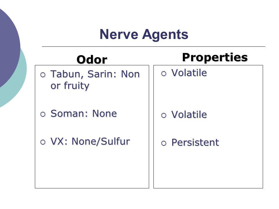 Nerve Agents Odor  Tabun, Sarin: Non or fruity  Soman: None  VX: None/Sulfur Properties  Volatile  Persistent