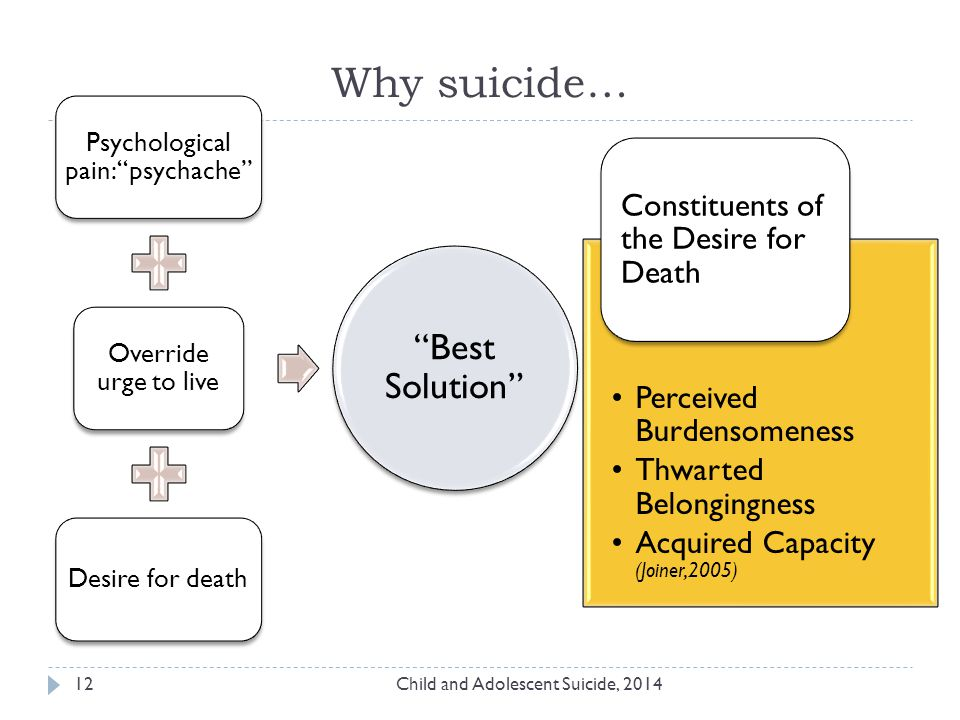 Why suicide… Child and Adolescent Suicide, 201412 Psychological pain: psychache Override urge to live Desire for death Best Solution Perceived Burdensomeness Thwarted Belongingness Acquired Capacity (Joiner,2005) Constituents of the Desire for Death
