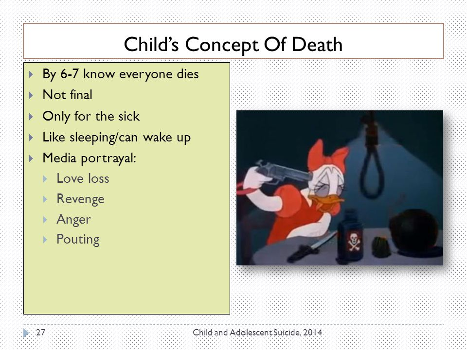 Child's Concept Of Death Child and Adolescent Suicide, 201427  By 6-7 know everyone dies  Not final  Only for the sick  Like sleeping/can wake up  Media portrayal:  Love loss  Revenge  Anger  Pouting
