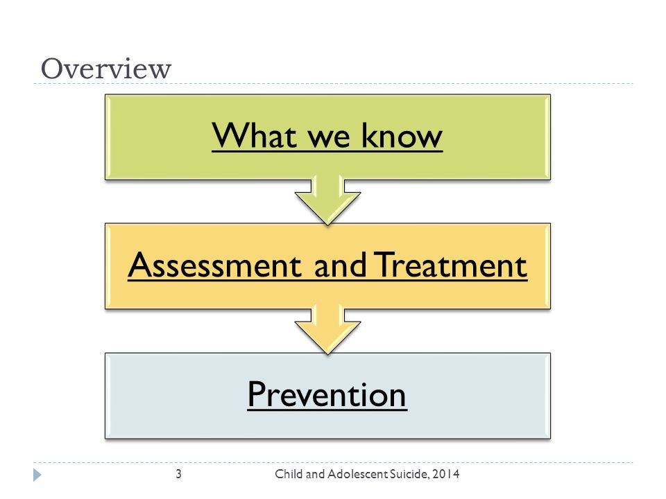 Prevention Assessment and Treatment What we know Overview 3Child and Adolescent Suicide, 2014