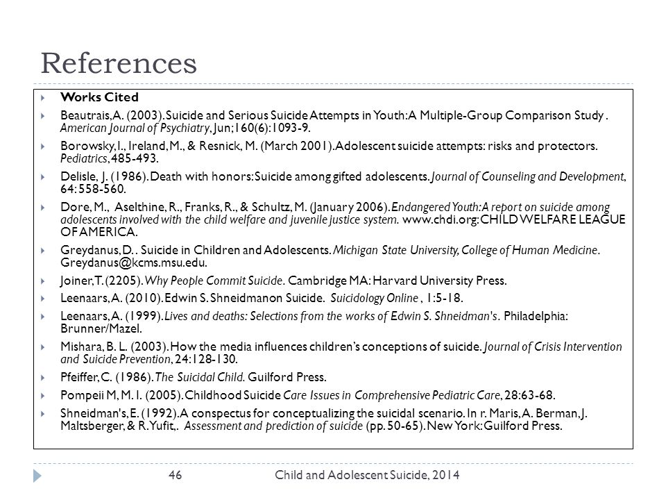 References Child and Adolescent Suicide, 201446  Works Cited  Beautrais, A.