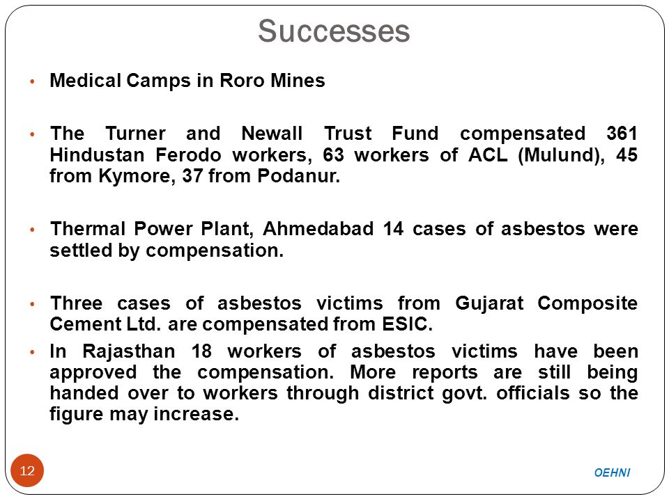 Successes (contd.) 13 Medical camps held in Gujarat – cases will be filed in consultation with workers' unions.