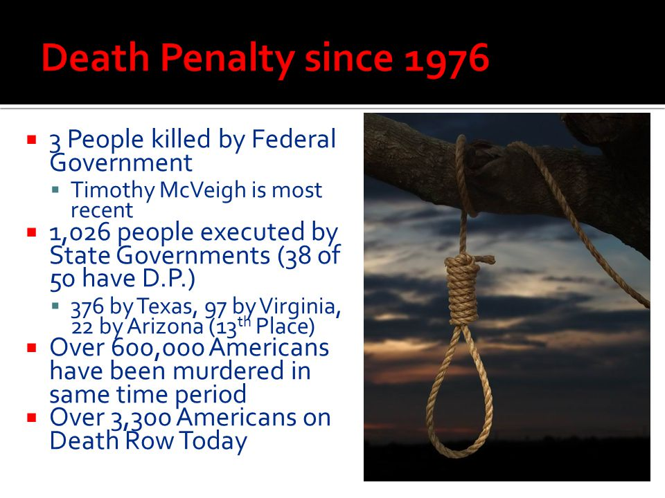  3 People killed by Federal Government  Timothy McVeigh is most recent  1,026 people executed by State Governments (38 of 50 have D.P.)  376 by Te