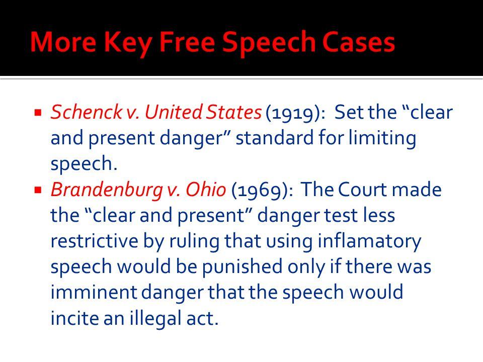 " Schenck v. United States (1919): Set the ""clear and present danger"" standard for limiting speech.  Brandenburg v. Ohio (1969): The Court made the """