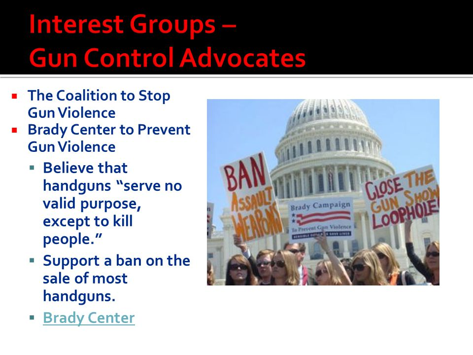 """ The Coalition to Stop Gun Violence  Brady Center to Prevent Gun Violence  Believe that handguns """"serve no valid purpose, except to kill people."""" """
