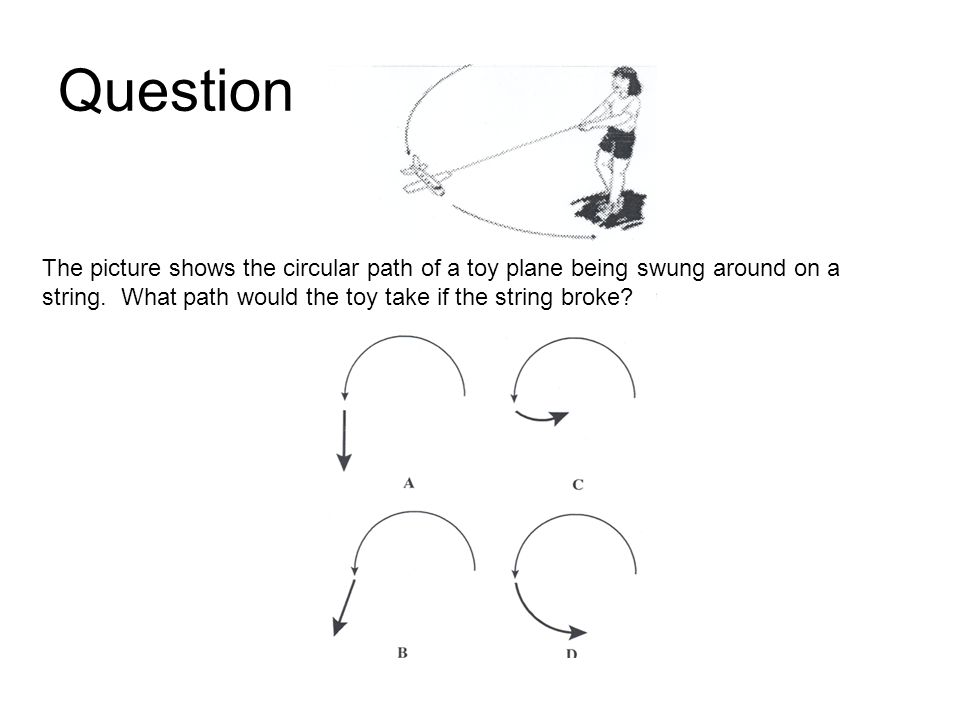 The picture shows the circular path of a toy plane being swung around on a string.