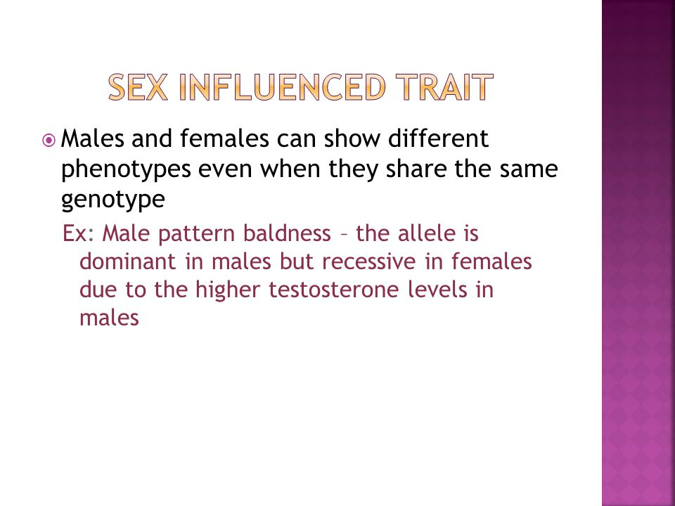  Males and females can show different phenotypes even when they share the same genotype Ex: Male pattern baldness – the allele is dominant in males but recessive in females due to the higher testosterone levels in males