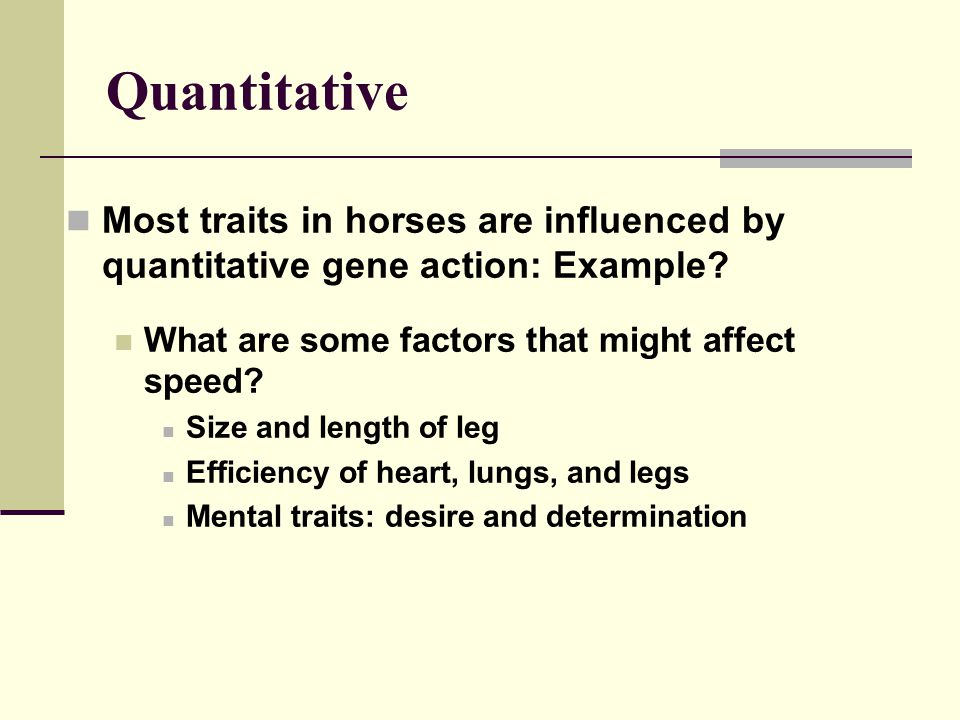 Quantitative Most traits in horses are influenced by quantitative gene action: Example.