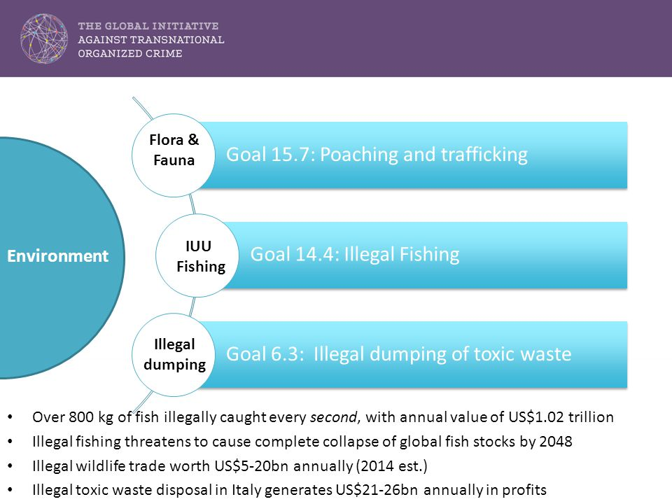 Goal 15.7: Poaching and trafficking Goal 14.4: Illegal Fishing Goal 6.3: Illegal dumping of toxic waste Environment Flora & Fauna IUU Fishing Illegal dumping Over 800 kg of fish illegally caught every second, with annual value of US$1.02 trillion Illegal fishing threatens to cause complete collapse of global fish stocks by 2048 Illegal wildlife trade worth US$5-20bn annually (2014 est.) Illegal toxic waste disposal in Italy generates US$21-26bn annually in profits
