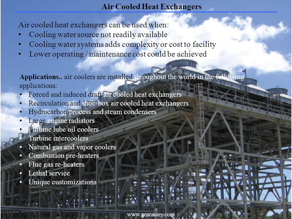 17 Air Cooled Heat Exchangers www.gearainey.com Applications..